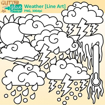 Weather Clip Art {Teach Climate, Erosion, and the Water Cycle in Science} B&W