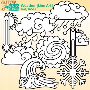 Weather Clip Art | Teach Climate, Erosion, and the Water Cycle in Science | B&W