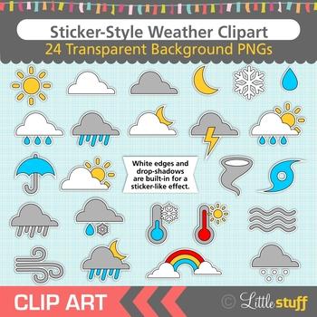 Weather Clip Art, Meteorology, Sticker-style, Drop Shadow Effect