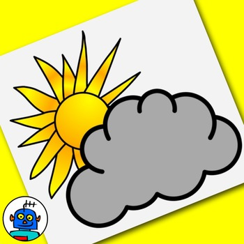 Weather Clip Art. Foggy, stormy, snowy, windy, partly cloudy, typhoon