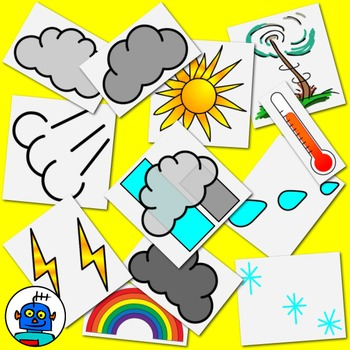 Weather Clip Art. Foggy, stormy, snowy, windy, partly clou