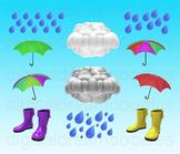Weather Clip Art - Rain Cloud Umbrella Digital Graphics
