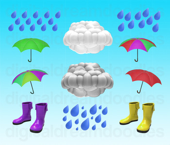Weather Clip Art - Rain Cloud Umbrella Digital Graphics