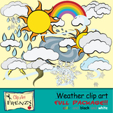 Weather Clip Art Rainbow, Clouds, Tornado and Hurricane, Rain and Snow