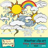 Weather Clip Art Rainbow, Clouds, Tornado and Hurricane, R
