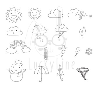Weather Clip Art, color and black line  PNG file-300 dpi