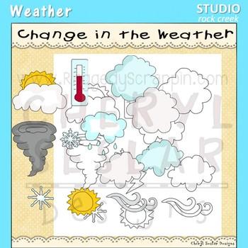 Weather Clip Art color and line art C Seslar