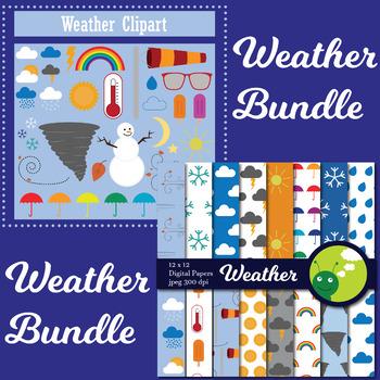 Weather Clip art and Digital paper bundle