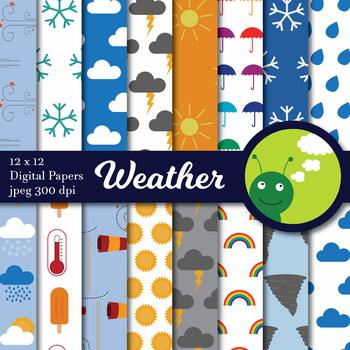 Weather Clip art and Digital paper bundle