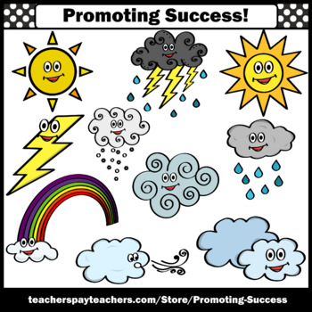 Weather Clipart for Calendar Activities Sun Snow Lightning Clouds Rainbow SPS
