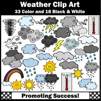 Weather Clip Art Sun Snow Lightning Clouds Rainbow Thermometer SPS
