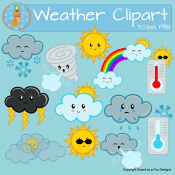 Weather Clipart Sunny Snow Cloudy Windy Rain Tornado Temperature