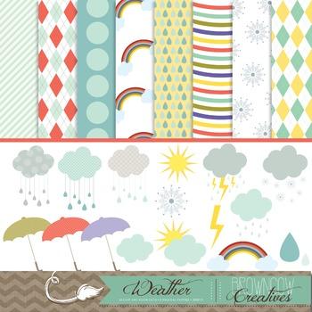 Weather Clipart & Backgrounds BUNDLE