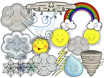 Weather Clipart with Faces (Personal & Commercial Use)