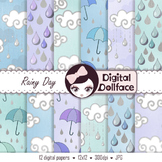 Weather Clouds Digital Paper, Rainy Day Background Paper