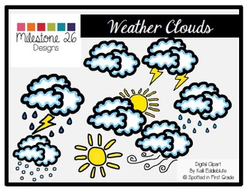Weather Clouds {Milestone 26 Designs Digital Clip Art}
