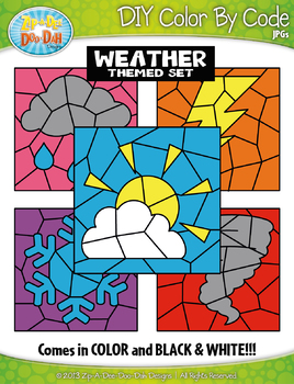 Weather Color By Code Clipart {Zip-A-Dee-Doo-Dah Designs}