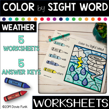 Weather Color By Sight Word Worksheets Seasons Morning Work