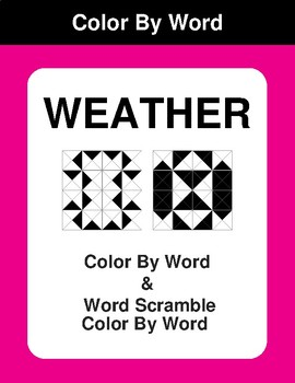 Weather - Color By Word & Color By Word Scramble Worksheets