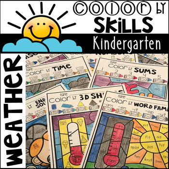 Weather Color by Code Math and Literacy Skills for Kindergarten