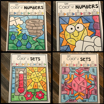 Weather Color by Math and Literacy Skills for Preschool
