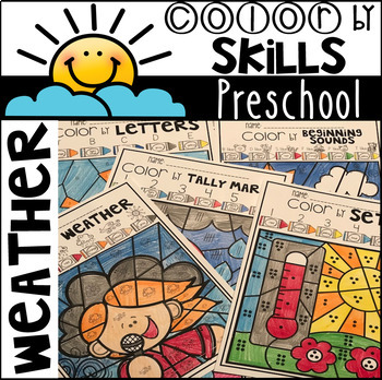 Weather Color by Code Math and Literacy Skills for Preschool