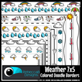 Weather Colored Doodle Borders Clip Art for Boom Cards™ Products