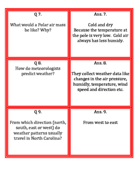 Weather Complete Fan and Pick Cards with Answers (Kagan's Structure) Science