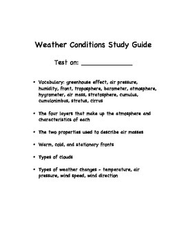 Weather Conditions Study Guide