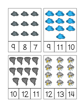Weather Count and Clip Cards (1-20)