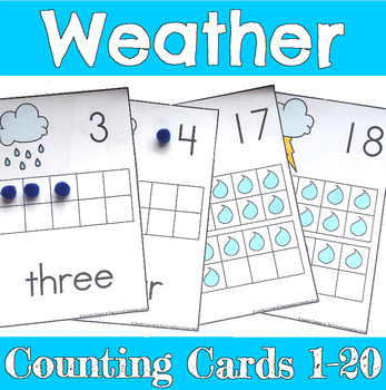 Weather Counting Mats 1-20 with Rain and Storms