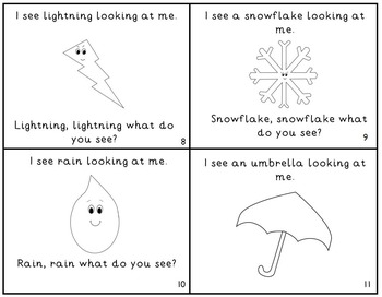 """Weather Emergent Reader Mini-Book """"Rainbow, Rainbow What Do You See?"""""""