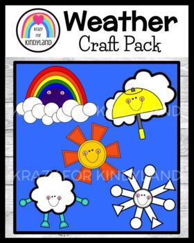 Weather Crafts Value Pack: Rainbow, Rain (Umbrella), Cloud, Sun, Snow