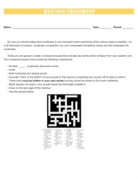 Weather Crossword Puzzle {Editable}