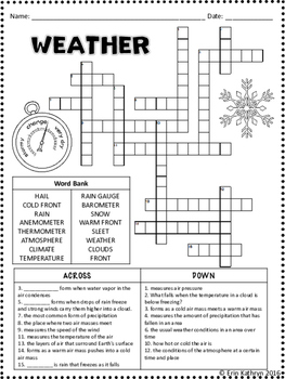 weather crossword puzzle activity by jersey girl gone south tpt. Black Bedroom Furniture Sets. Home Design Ideas