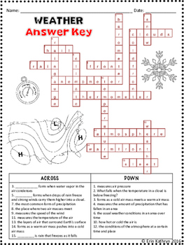 Weather Crossword Puzzle Activity