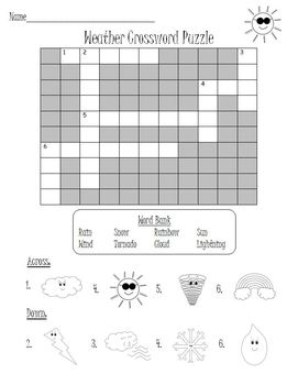 Weather Crossword Puzzles Word Search Set