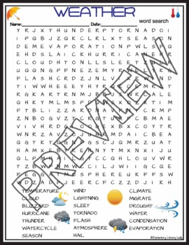 Weather Activities Crossword Puzzle and Word Search Find (2nd Grade)