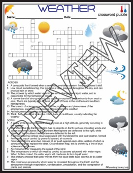 Weather Activities Crossword Puzzle and Word Search Find (5th Grade)