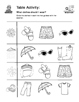 Weather - Curriculum‐Based Language Enrichment Worksheets & Activities