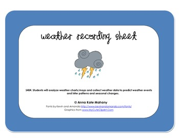 Weather Data Recording Sheet