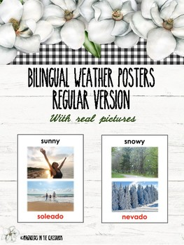 Weather Descriptions Flash Cards English/Spanish