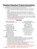 Weather Disasters Project, Rubric, and Timeline