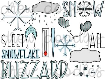 Weather Doodles 2 Digital Clip Art Set