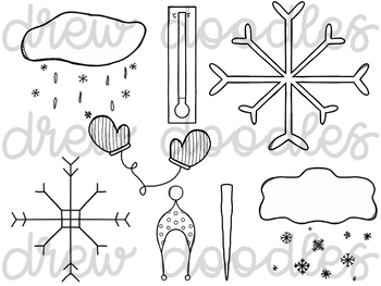 Weather Doodles 2 Digital Clip Art Set- Black Line Version