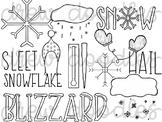 Weather Doodles 2 Digital Clip Art Set- Black Line Version