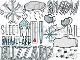 Weather Doodles 2 Digital Clip Art Set- Color and Black Li