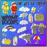 Weather Doodles Digital Clip Art combo (BW & Color PNG files)