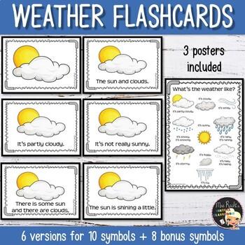 Weather Flashcards - Symbols, Words & Sentences