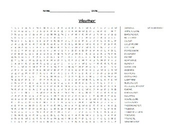 Weather Earth Science Word Search
